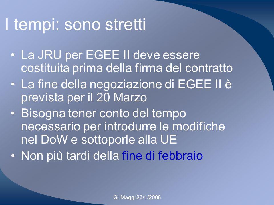G. Maggi 23/1/2006 I tempi: sono stretti La JRU per EGEE II deve essere costituita prima della firma del contratto La fine della negoziazione di EGEE