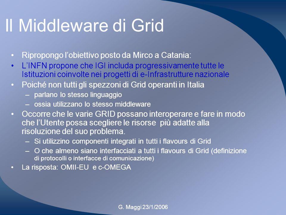 G. Maggi 23/1/2006 Il Middleware di Grid Ripropongo lobiettivo posto da Mirco a Catania: LINFN propone che IGI includa progressivamente tutte le Istit