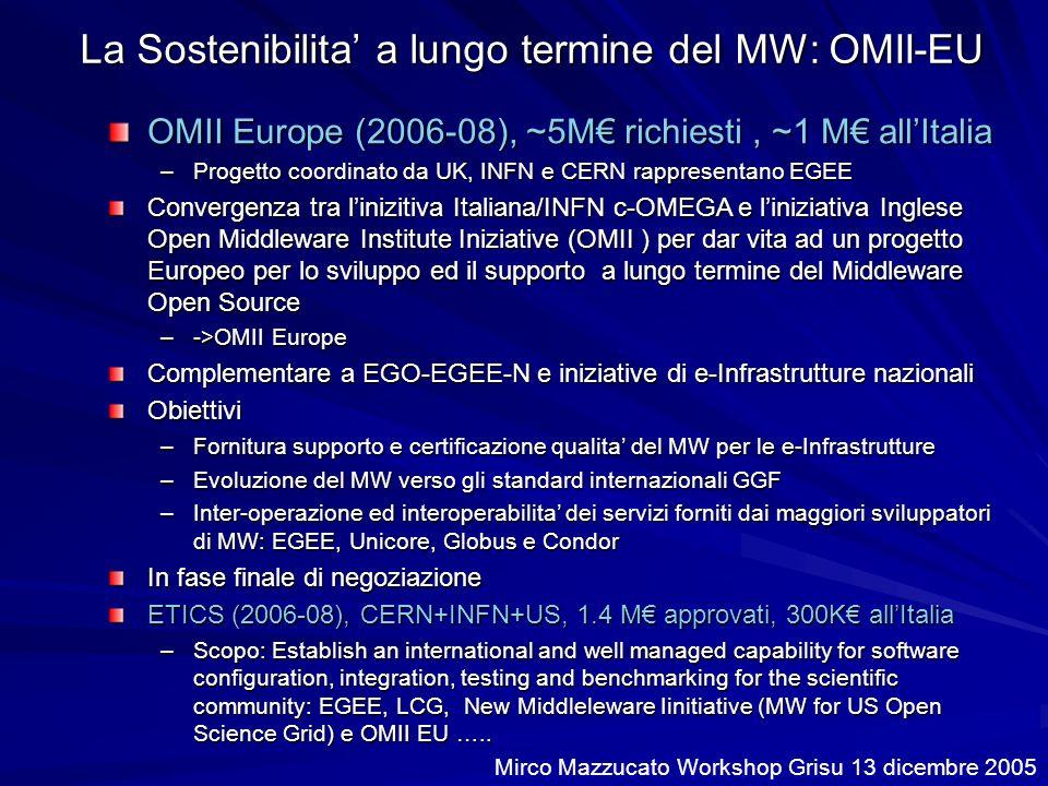La Sostenibilita a lungo termine del MW: OMII-EU OMII Europe (2006-08), ~5M richiesti, ~1 M allItalia –Progetto coordinato da UK, INFN e CERN rappresentano EGEE Convergenza tra linizitiva Italiana/INFN c-OMEGA e liniziativa Inglese Open Middleware Institute Iniziative (OMII ) per dar vita ad un progetto Europeo per lo sviluppo ed il supporto a lungo termine del Middleware Open Source –->OMII Europe Complementare a EGO-EGEE-N e iniziative di e-Infrastrutture nazionali Obiettivi –Fornitura supporto e certificazione qualita del MW per le e-Infrastrutture –Evoluzione del MW verso gli standard internazionali GGF –Inter-operazione ed interoperabilita dei servizi forniti dai maggiori sviluppatori di MW: EGEE, Unicore, Globus e Condor In fase finale di negoziazione ETICS (2006-08), CERN+INFN+US, 1.4 M approvati, 300K allItalia –Scopo: Establish an international and well managed capability for software configuration, integration, testing and benchmarking for the scientific community: EGEE, LCG, New Middleleware Iinitiative (MW for US Open Science Grid) e OMII EU …..