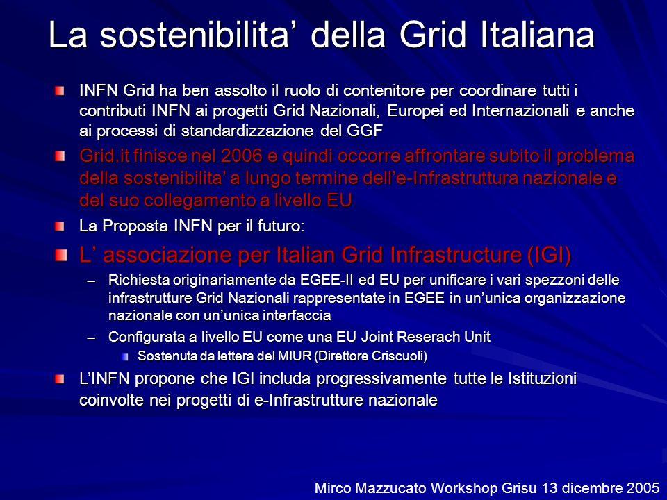 La sostenibilita della Grid Italiana INFN Grid ha ben assolto il ruolo di contenitore per coordinare tutti i contributi INFN ai progetti Grid Nazionali, Europei ed Internazionali e anche ai processi di standardizzazione del GGF Grid.it finisce nel 2006 e quindi occorre affrontare subito il problema della sostenibilita a lungo termine delle-Infrastruttura nazionale e del suo collegamento a livello EU La Proposta INFN per il futuro: L associazione per Italian Grid Infrastructure (IGI) –Richiesta originariamente da EGEE-II ed EU per unificare i vari spezzoni delle infrastrutture Grid Nazionali rappresentate in EGEE in ununica organizzazione nazionale con ununica interfaccia –Configurata a livello EU come una EU Joint Reserach Unit Sostenuta da lettera del MIUR (Direttore Criscuoli) LINFN propone che IGI includa progressivamente tutte le Istituzioni coinvolte nei progetti di e-Infrastrutture nazionale Mirco Mazzucato Workshop Grisu 13 dicembre 2005