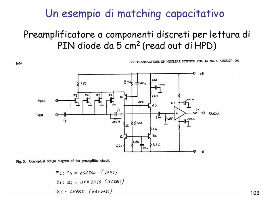 108 Un esempio di matching capacitativo Preamplificatore a componenti discreti per lettura di PIN diode da 5 cm 2 (read out di HPD)