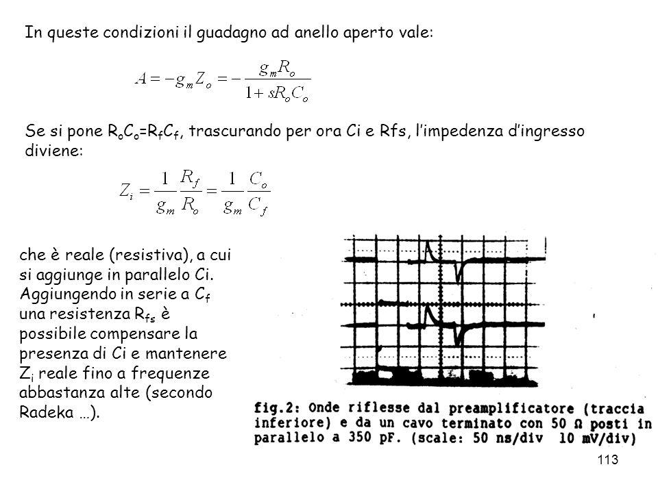 113 In queste condizioni il guadagno ad anello aperto vale: Se si pone R o C o =R f C f, trascurando per ora Ci e Rfs, limpedenza dingresso diviene: c