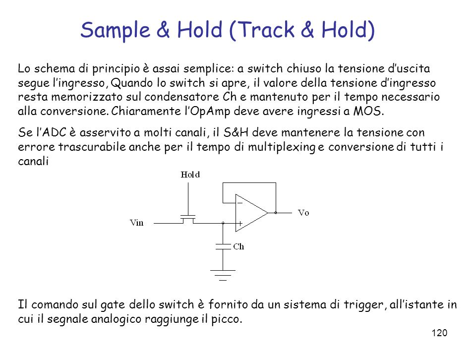 120 Sample & Hold (Track & Hold) Lo schema di principio è assai semplice: a switch chiuso la tensione duscita segue lingresso, Quando lo switch si apr