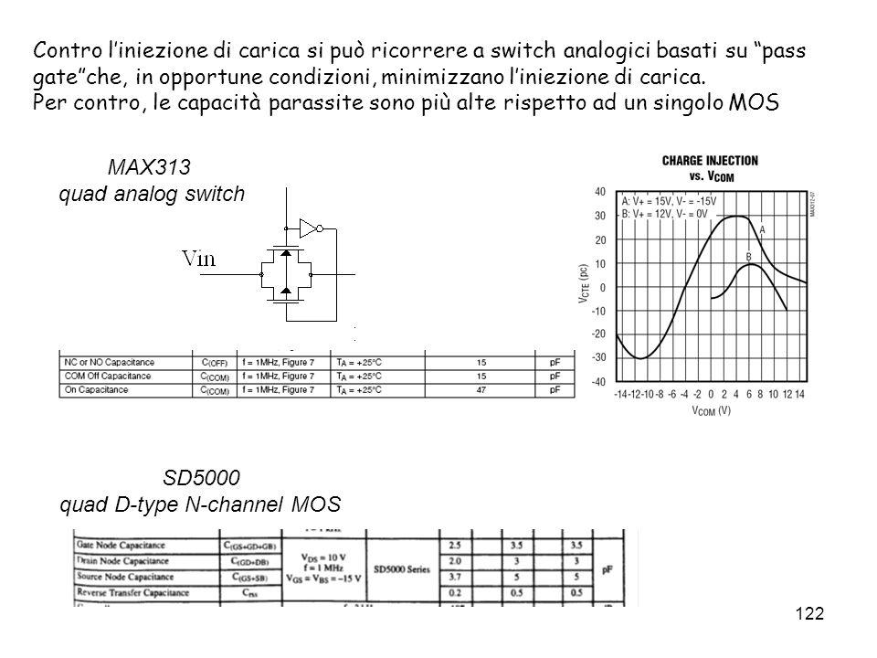 122 Contro liniezione di carica si può ricorrere a switch analogici basati su pass gateche, in opportune condizioni, minimizzano liniezione di carica.