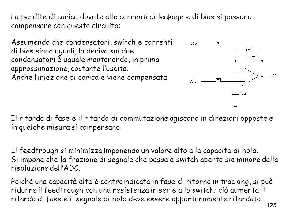 123 La perdite di carica dovute alle correnti di leakage e di bias si possono compensare con questo circuito: Assumendo che condensatori, switch e cor