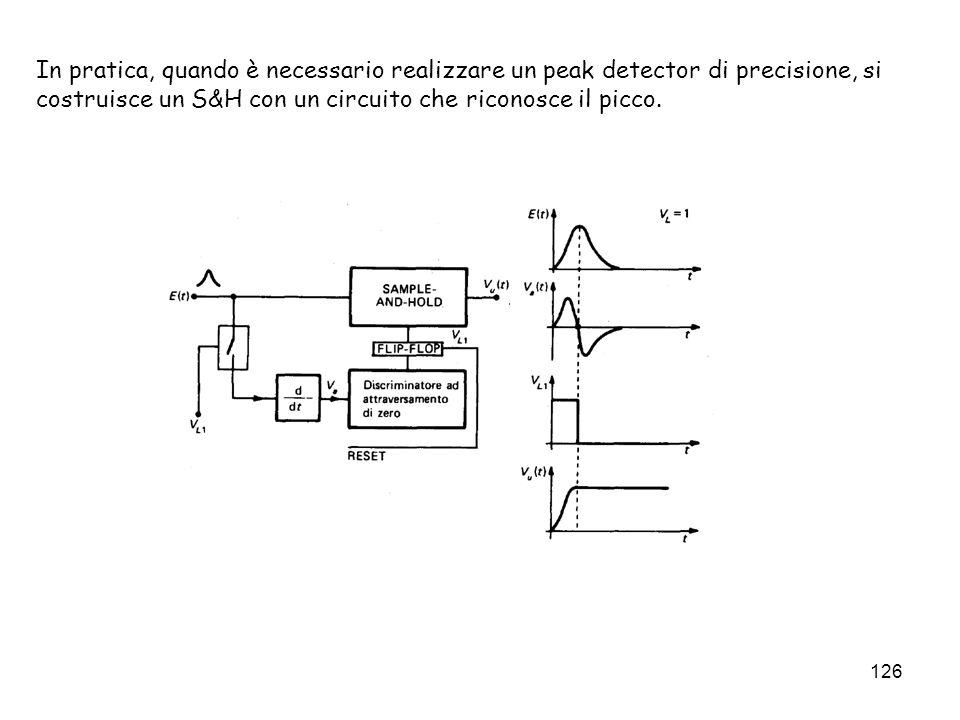126 In pratica, quando è necessario realizzare un peak detector di precisione, si costruisce un S&H con un circuito che riconosce il picco.