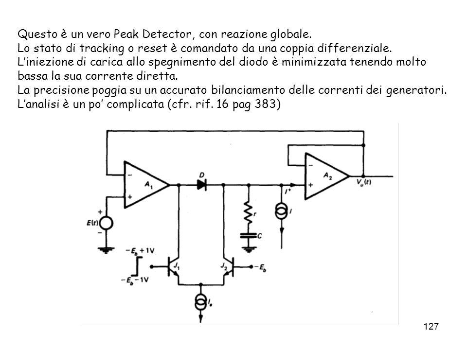 127 Questo è un vero Peak Detector, con reazione globale. Lo stato di tracking o reset è comandato da una coppia differenziale. Liniezione di carica a