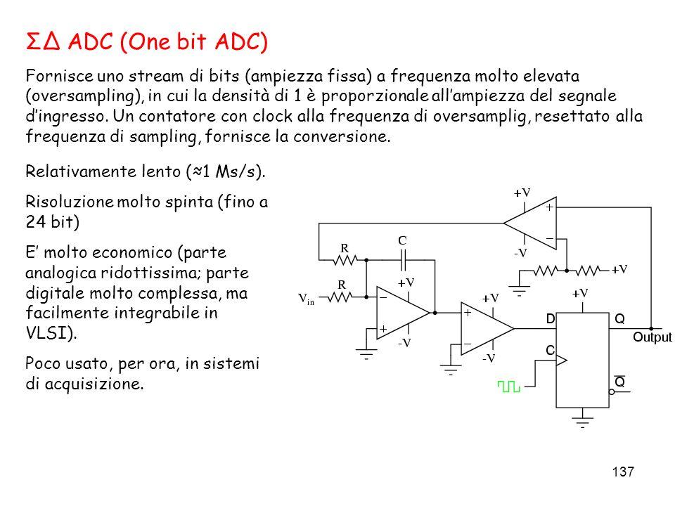 137 ΣΔ ADC (One bit ADC) Fornisce uno stream di bits (ampiezza fissa) a frequenza molto elevata (oversampling), in cui la densità di 1 è proporzionale