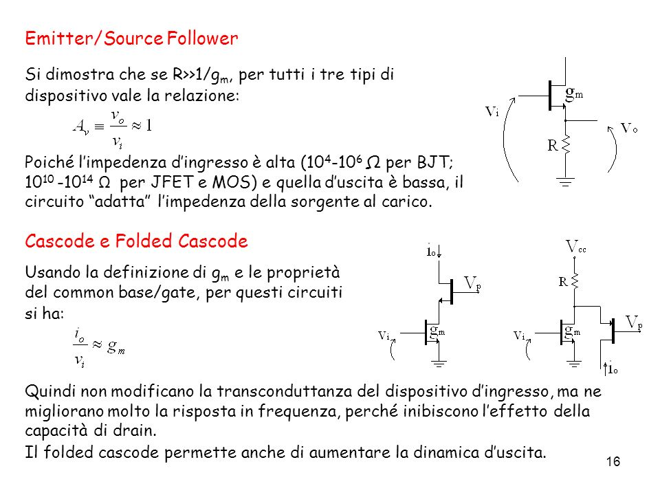 16 Emitter/Source Follower Poiché limpedenza dingresso è alta (10 4 -10 6 Ω per BJT; 10 10 -10 14 Ω per JFET e MOS) e quella duscita è bassa, il circu