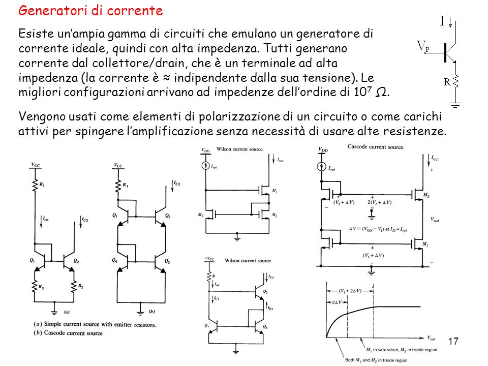 17 Generatori di corrente Esiste unampia gamma di circuiti che emulano un generatore di corrente ideale, quindi con alta impedenza. Tutti generano cor