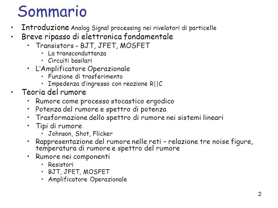 53 Rumore nei componenti elettronici Rumore nei componenti passivi Del rumore generato da resistenze si è già detto.