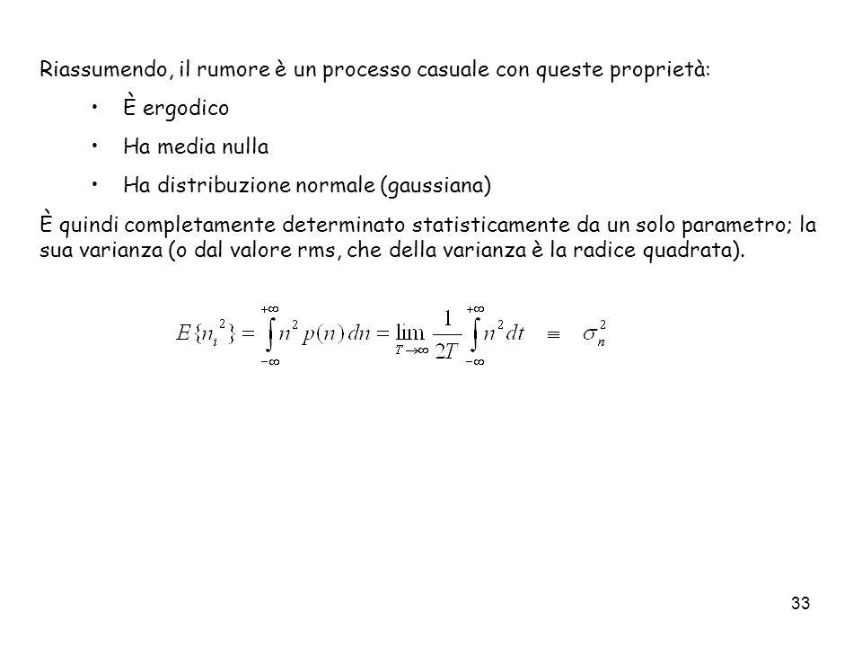 33 Riassumendo, il rumore è un processo casuale con queste proprietà: È ergodico Ha media nulla Ha distribuzione normale (gaussiana) È quindi completa