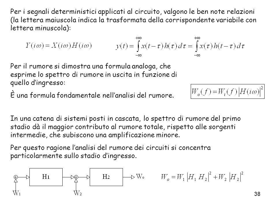 38 Per i segnali deterministici applicati al circuito, valgono le ben note relazioni (la lettera maiuscola indica la trasformata della corrispondente