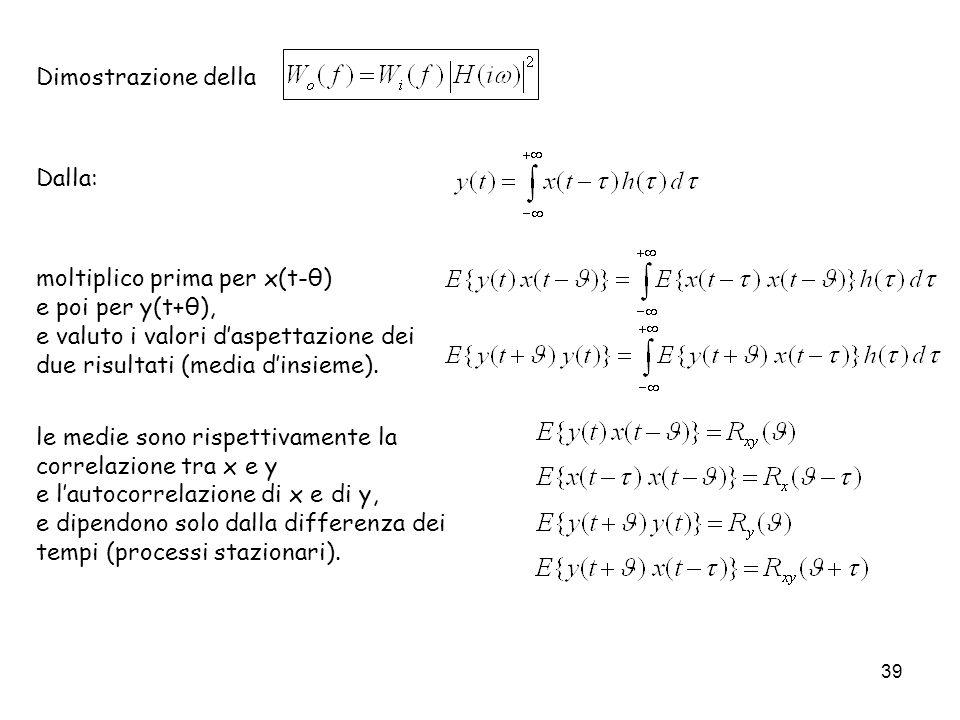 39 Dimostrazione della Dalla: moltiplico prima per x(t-θ) e poi per y(t+θ), e valuto i valori daspettazione dei due risultati (media dinsieme). le med