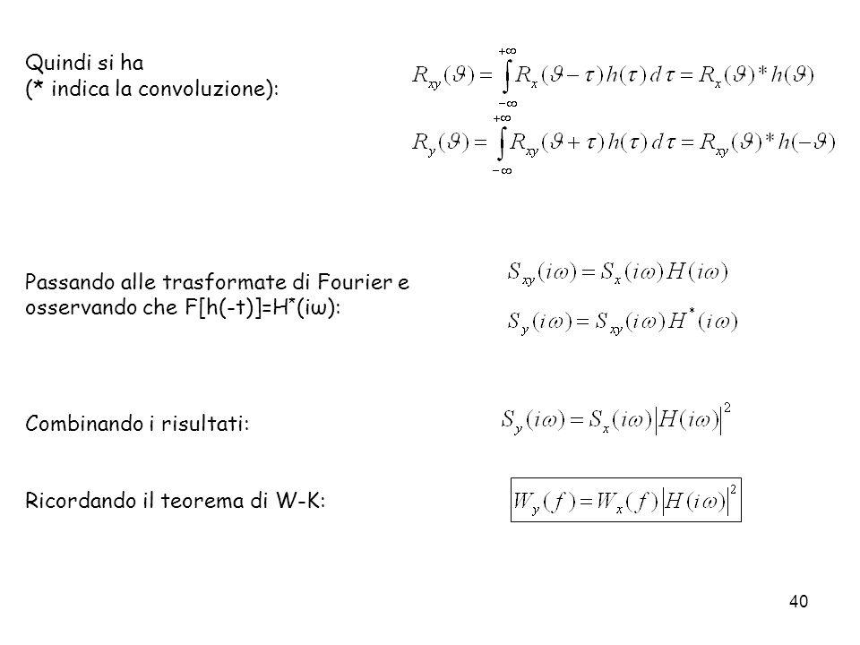 40 Quindi si ha (* indica la convoluzione): Passando alle trasformate di Fourier e osservando che F[h(-t)]=H * (iω): Combinando i risultati: Ricordand