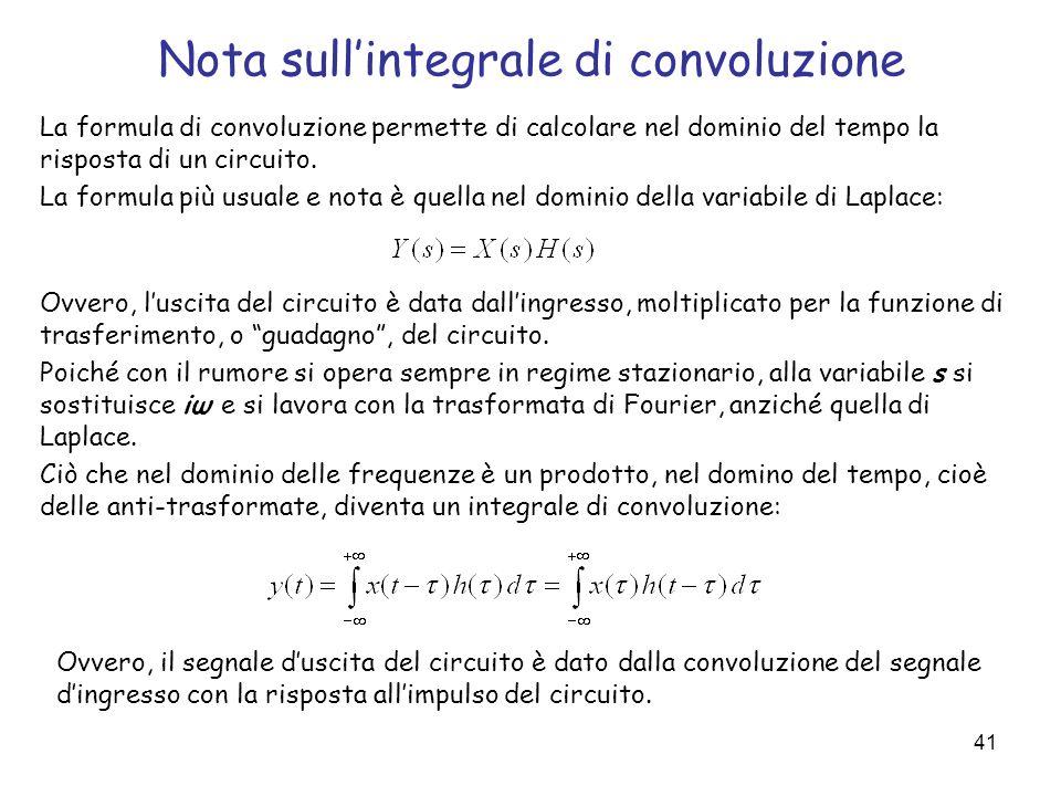 41 Nota sullintegrale di convoluzione La formula di convoluzione permette di calcolare nel dominio del tempo la risposta di un circuito. La formula pi