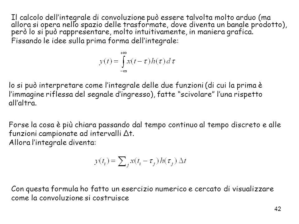 42 Il calcolo dellintegrale di convoluzione può essere talvolta molto arduo (ma allora si opera nello spazio delle trasformate, dove diventa un banale