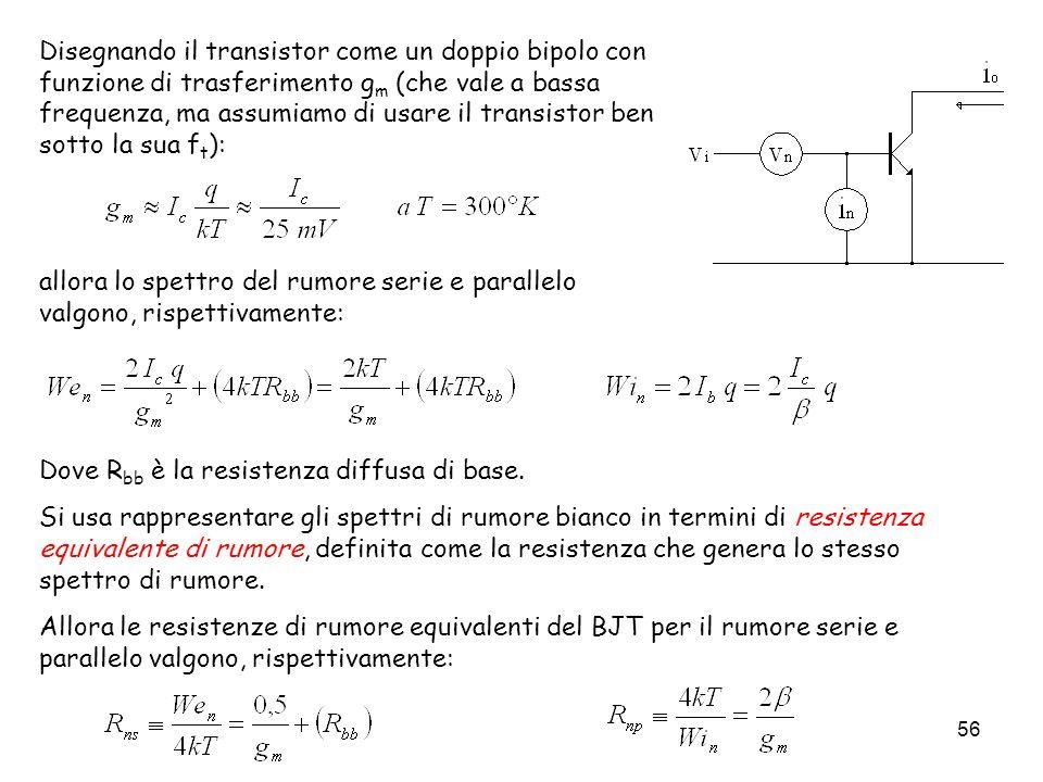 56 Disegnando il transistor come un doppio bipolo con funzione di trasferimento g m (che vale a bassa frequenza, ma assumiamo di usare il transistor b