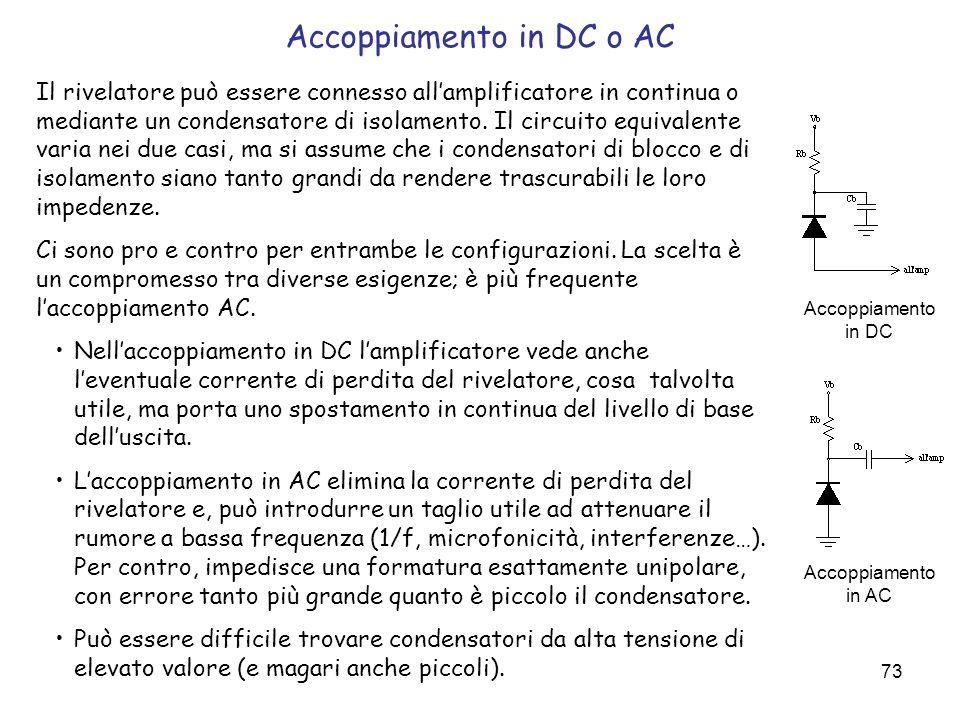 73 Accoppiamento in DC o AC Il rivelatore può essere connesso allamplificatore in continua o mediante un condensatore di isolamento. Il circuito equiv
