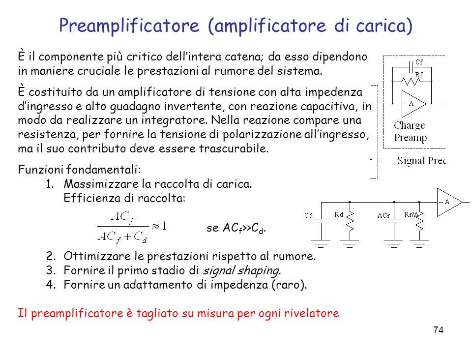 74 Preamplificatore (amplificatore di carica) È il componente più critico dellintera catena; da esso dipendono in maniere cruciale le prestazioni al r