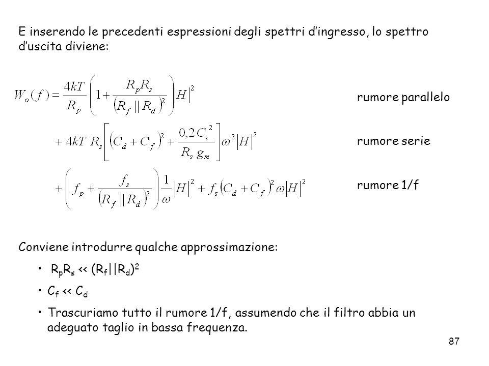 87 E inserendo le precedenti espressioni degli spettri dingresso, lo spettro duscita diviene: rumore parallelo rumore serie rumore 1/f Conviene introd