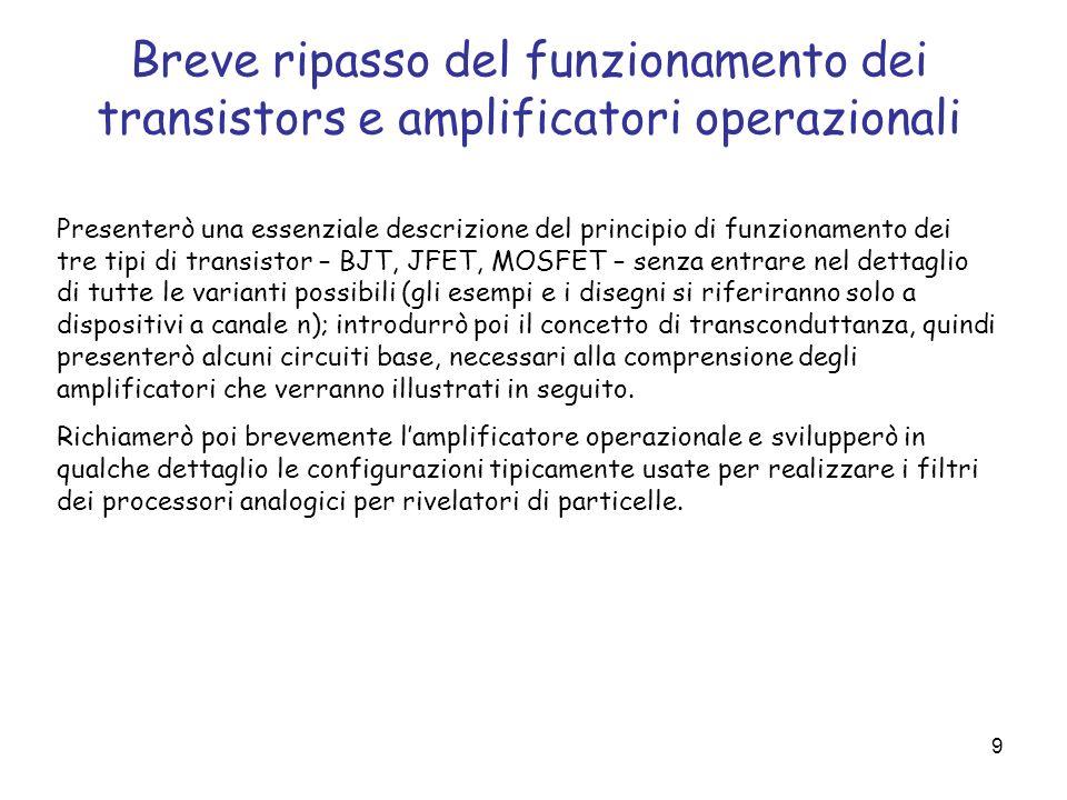 9 Breve ripasso del funzionamento dei transistors e amplificatori operazionali Presenterò una essenziale descrizione del principio di funzionamento de