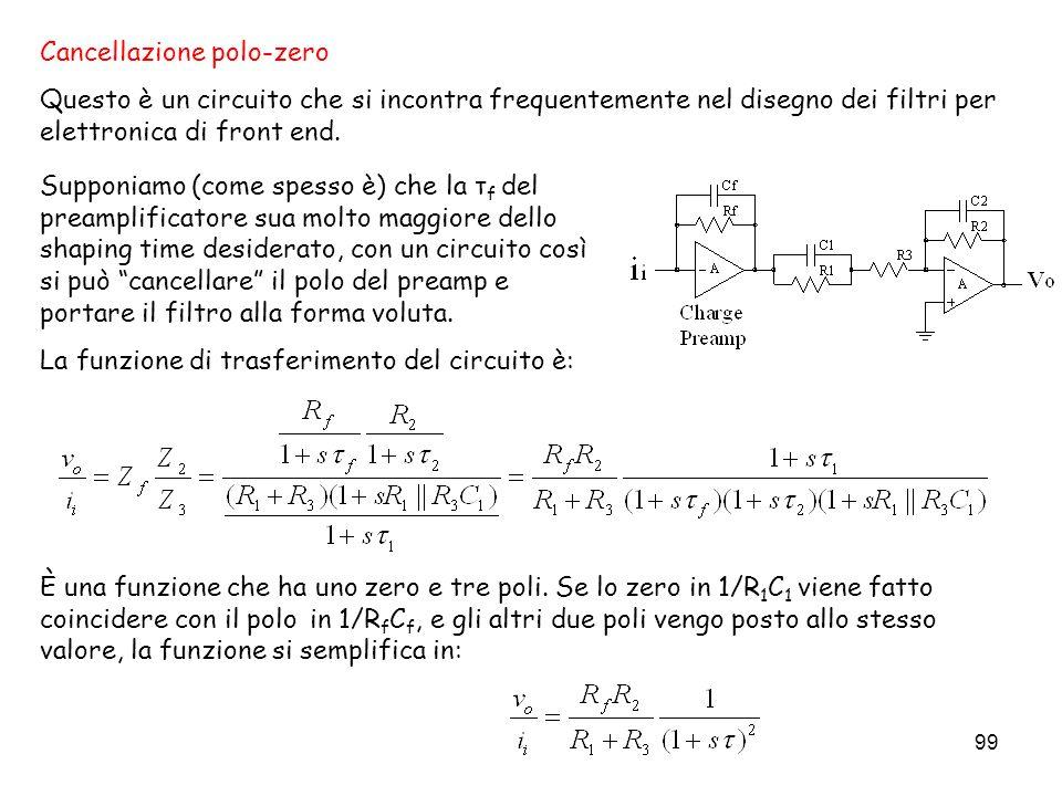 99 Cancellazione polo-zero Questo è un circuito che si incontra frequentemente nel disegno dei filtri per elettronica di front end. È una funzione che