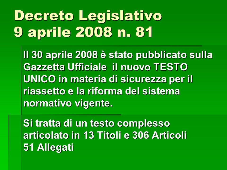 Decreto Legislativo 9 aprile 2008 n. 81 Il 30 aprile 2008 è stato pubblicato sulla Gazzetta Ufficiale il nuovo TESTO UNICO in materia di sicurezza per