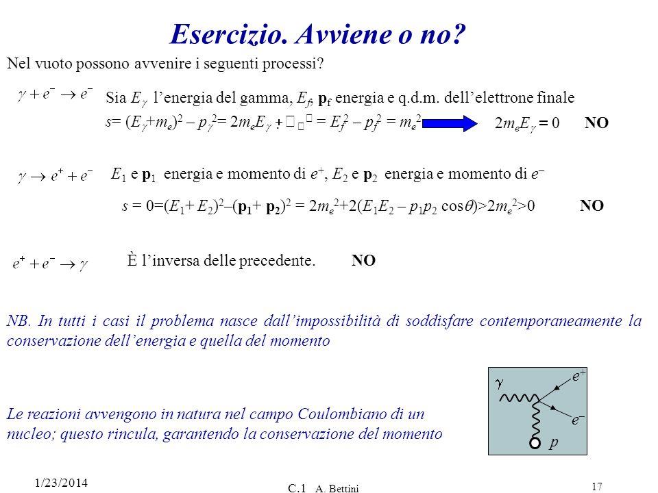 1/23/2014 C.1 A. Bettini 17 Esercizio. Avviene o no? Sia E lenergia del gamma, E f, p f energia e q.d.m. dellelettrone finale s= (E +m e ) 2 – p 2 = 2