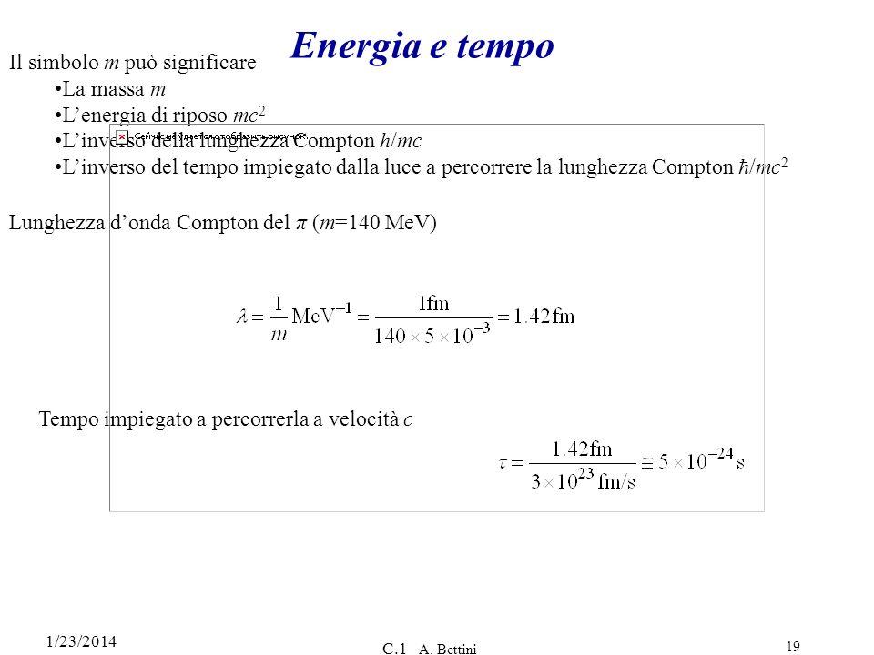 1/23/2014 C.1 A. Bettini 19 Energia e tempo Il simbolo m può significare La massa m Lenergia di riposo mc 2 Linverso della lunghezza Compton /mc Linve