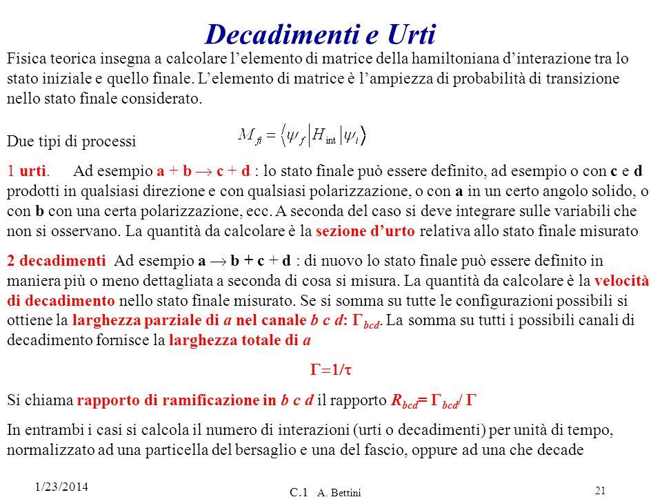 1/23/2014 C.1 A. Bettini 21 Decadimenti e Urti Fisica teorica insegna a calcolare lelemento di matrice della hamiltoniana dinterazione tra lo stato in