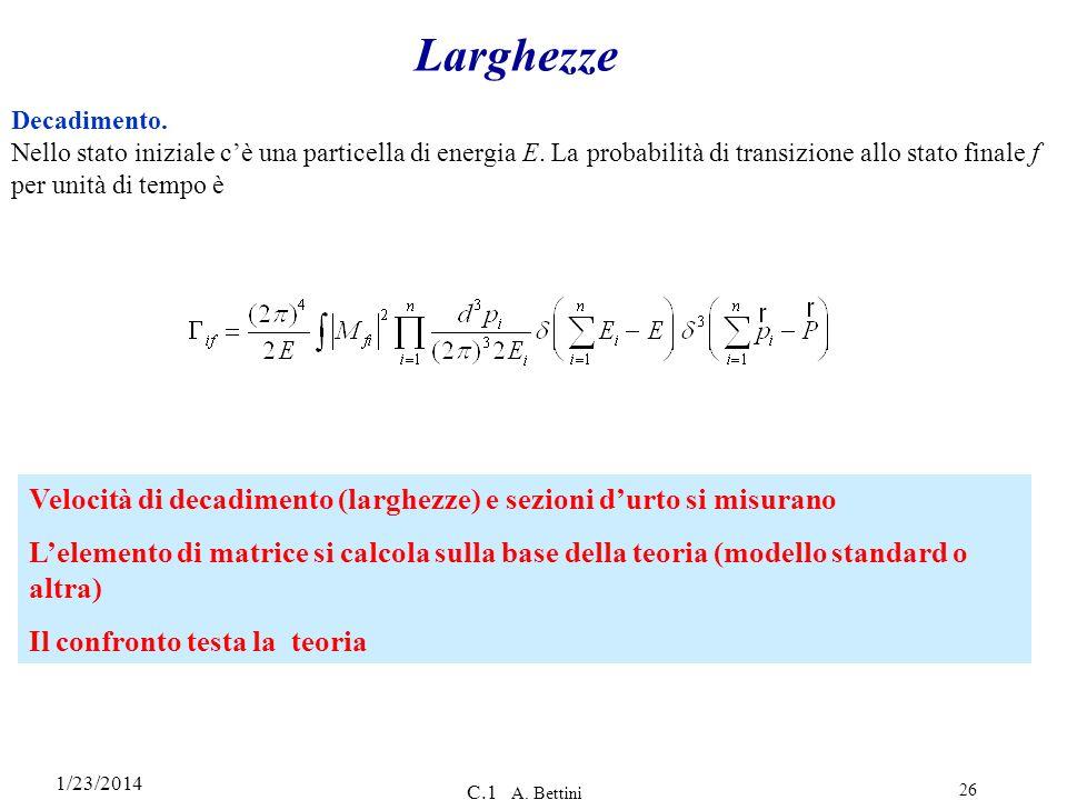 1/23/2014 C.1 A. Bettini 26 Larghezze Decadimento. Nello stato iniziale cè una particella di energia E. La probabilità di transizione allo stato final