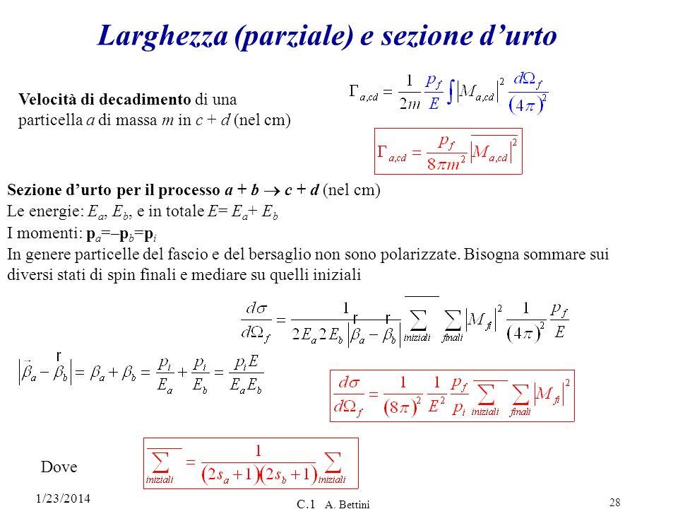 1/23/2014 C.1 A. Bettini 28 Larghezza (parziale) e sezione durto Velocità di decadimento di una particella a di massa m in c + d (nel cm) Sezione durt