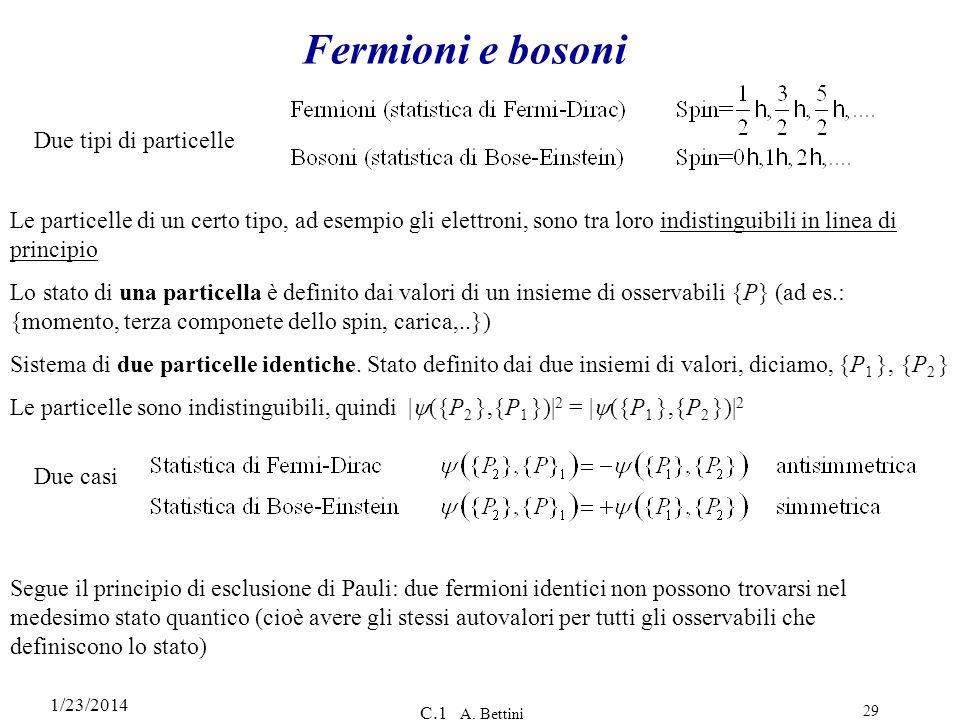 1/23/2014 C.1 A. Bettini 29 Fermioni e bosoni Due tipi di particelle Le particelle di un certo tipo, ad esempio gli elettroni, sono tra loro indisting