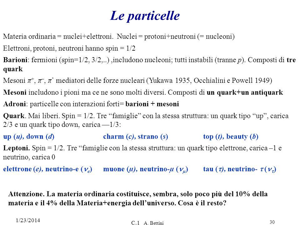 1/23/2014 C.1 A. Bettini 30 Le particelle Materia ordinaria = nuclei+elettroni. Nuclei = protoni+neutroni (= nucleoni) Elettroni, protoni, neutroni ha