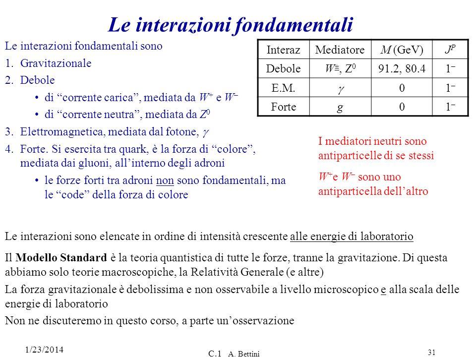1/23/2014 C.1 A. Bettini 31 Le interazioni fondamentali Le interazioni fondamentali sono 1.Gravitazionale 2.Debole di corrente carica, mediata da W +