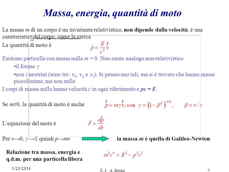 1/23/2014 C.1 A. Bettini 4 La massa m di un corpo è un invariante relativistico, non dipende dalla velocità, è una caratteristica del corpo, come la c