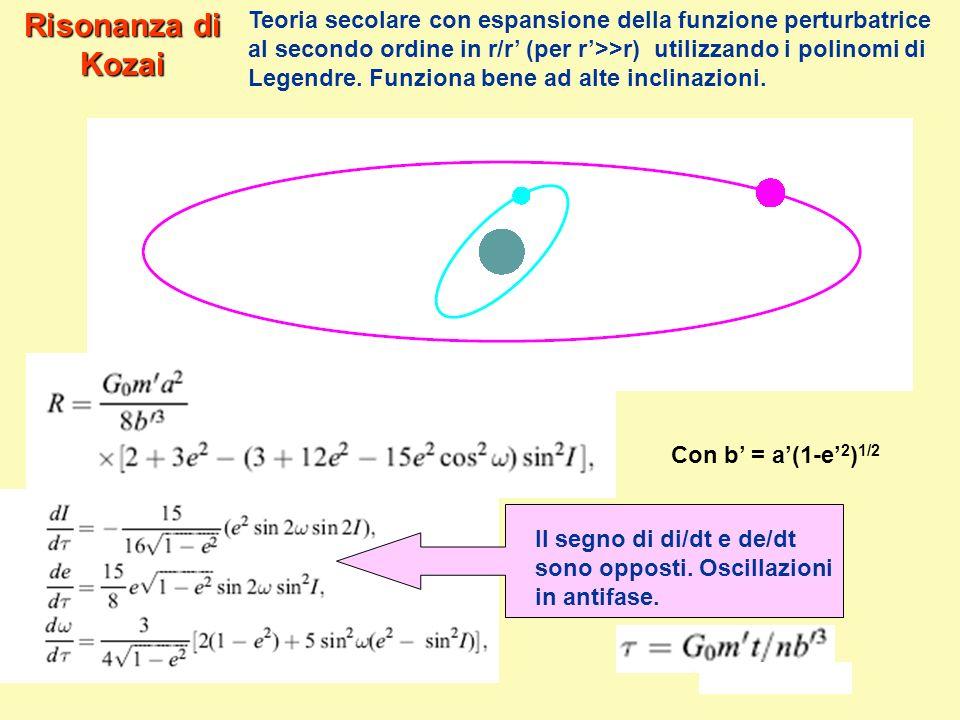 Risonanza di Kozai Teoria secolare con espansione della funzione perturbatrice al secondo ordine in r/r (per r>>r) utilizzando i polinomi di Legendre.