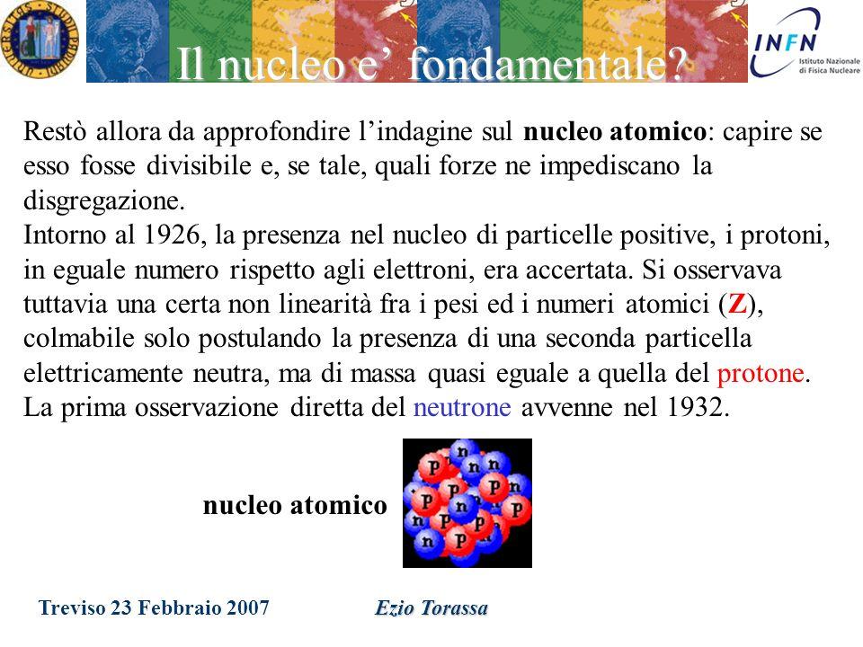 Treviso 23 Febbraio 2007Ezio Torassa Conclusione Latomo contiene un nucleo di carica positiva di dimensione <10 fm [1 fm = 10 -13 cm] 0.000,000,000,00