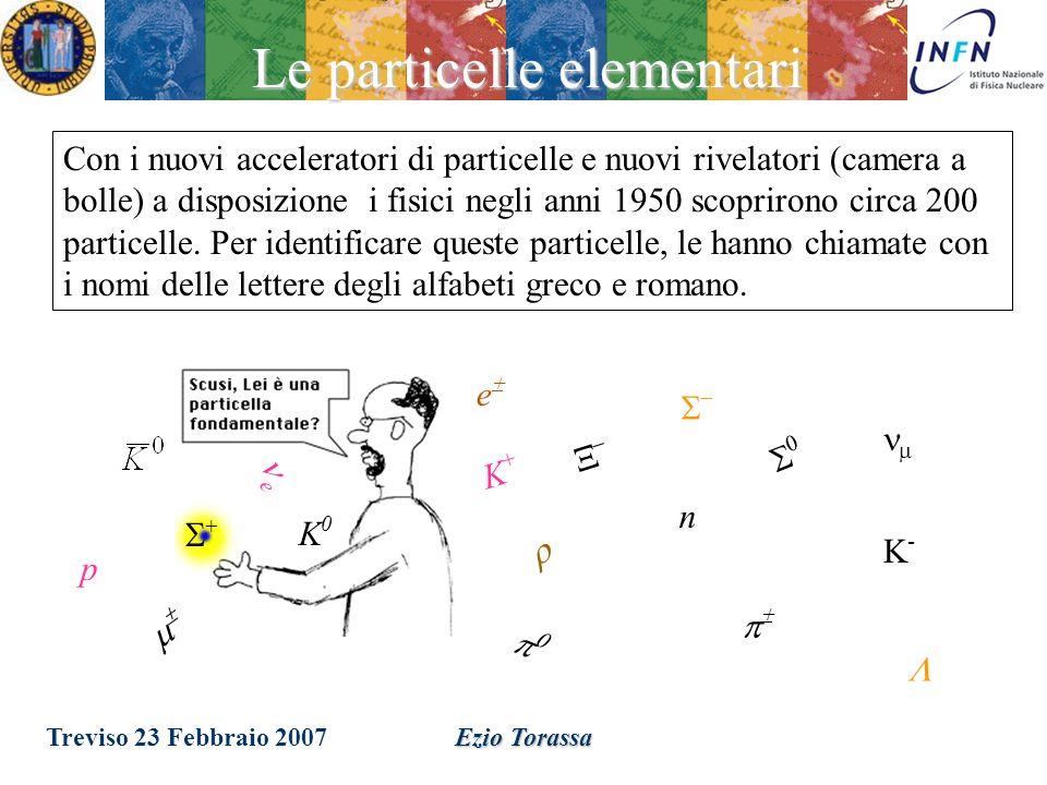 Treviso 23 Febbraio 2007Ezio Torassa Lo studio delle interazioni dei raggi cosmici porto alla scoperta di un grande numero di nuove particelle: –1931 - Il positrone (e + ) –1936 - il muone (m) –1947 - Pioni, kaoni, iperoni Nel 1931 Ernest Lawrence costruisce la prima macchina acceleratrice che impiega un campo magnetico per spingere le particelle in un orbita a spirale di raggio crescente con l energia Ottenendo intensita molto piu grandi che nei raggi cosmici.