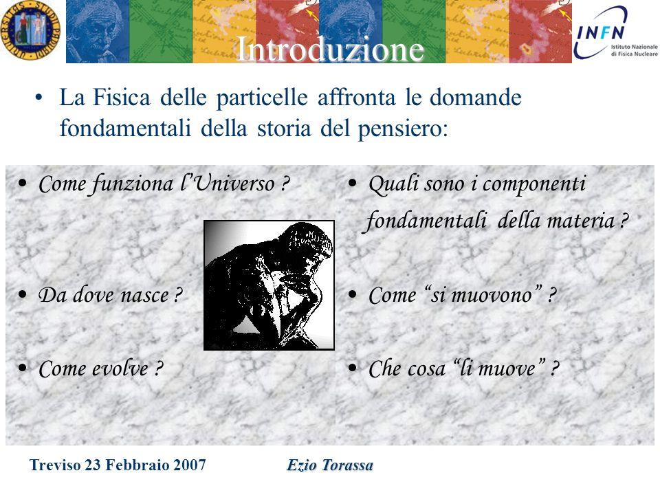Treviso 23 Febbraio 2007Ezio Torassa Introduzione alla fisica delle particelle elementari Un po di storia Un po di storia Le particelle elementari Le