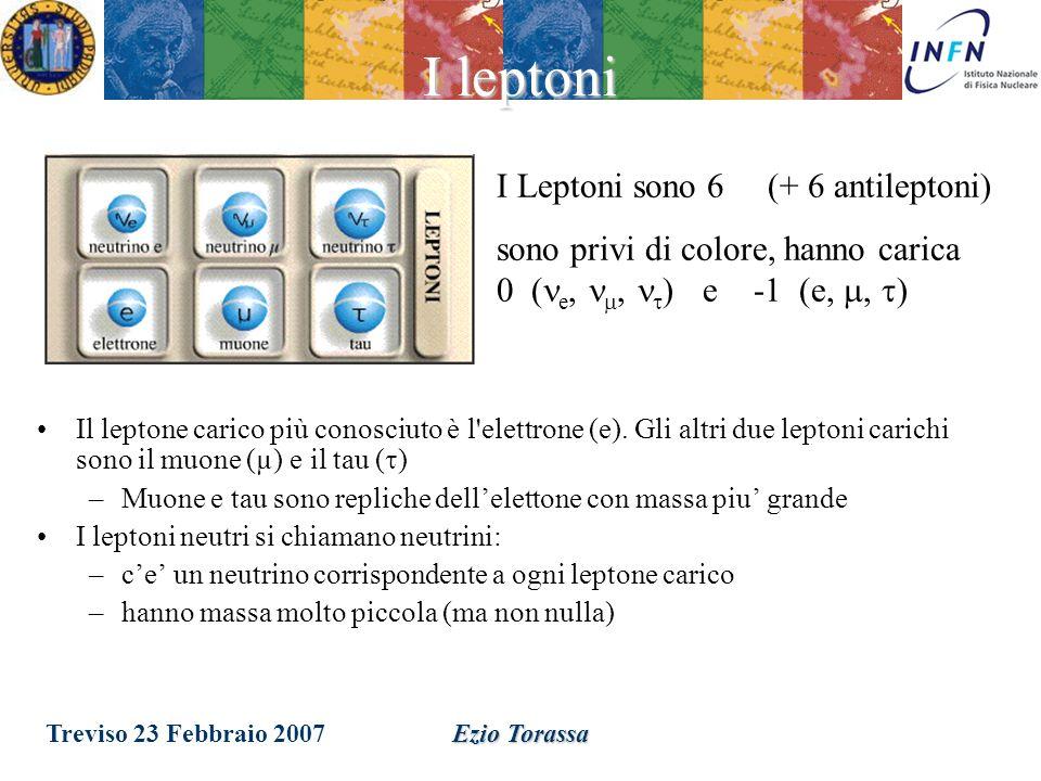 Treviso 23 Febbraio 2007Ezio Torassa Gli adroni I Quark sono 6 (+ 6 antiquark) possono assumere 3 stati quantici chiamati colore, hanno carica +2/3 (u