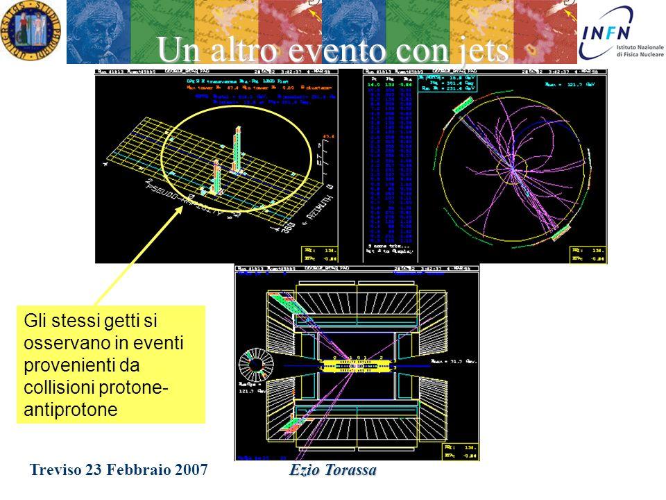 Treviso 23 Febbraio 2007Ezio Torassa Negli anni 70, nelle collisioni elettrone-positrone ad alta energia, si osservano dei getti di energia, associabili alla presenza di gluoni dovuti dalla forza nucleare forte che si origina dalle interazioni tra quark.