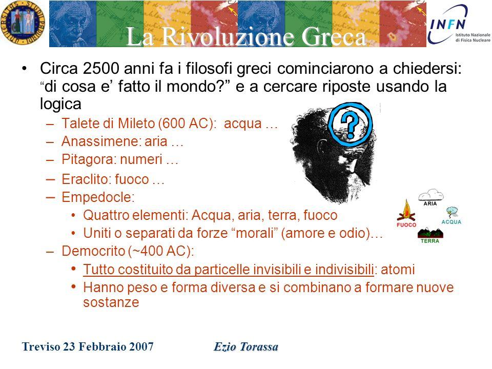 Treviso 23 Febbraio 2007Ezio TorassaIntroduzione Rispondere a queste domande non e semplice, occorre individuare: -i componenti fondamentali della materia ; -le forze che ne governano il comportamento.