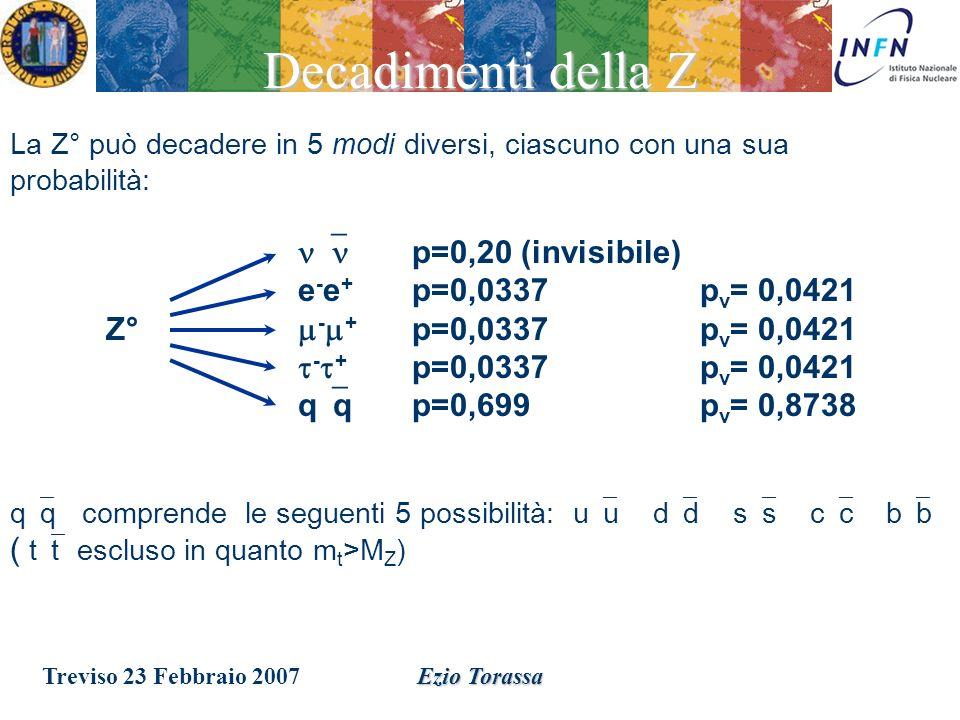 Treviso 23 Febbraio 2007Ezio Torassa Negli anni 90, i dati raccolti al LEP studiando il decadimento del bosone Z, ci permettono di determinare con grande precisione il numero di neutrini (e quindi il numero di generazioni) e di escludere con certezza la presenza di neutrini anomali.