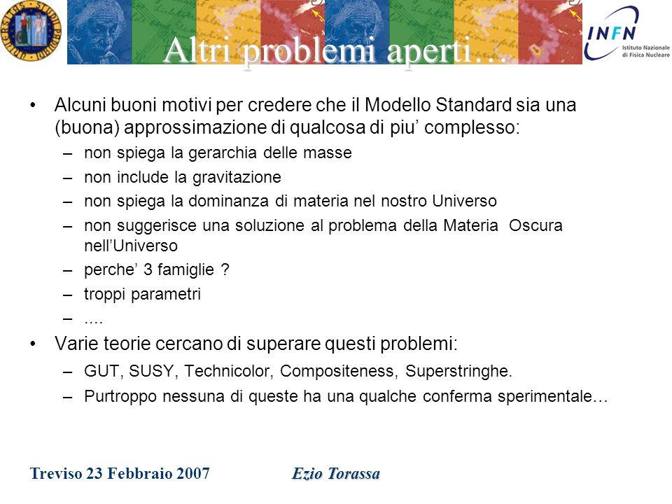 Treviso 23 Febbraio 2007Ezio Torassa Un problema aperto Le forze forte, elettromagnetica, debole, e gravitazionale unificate a grandi energie .