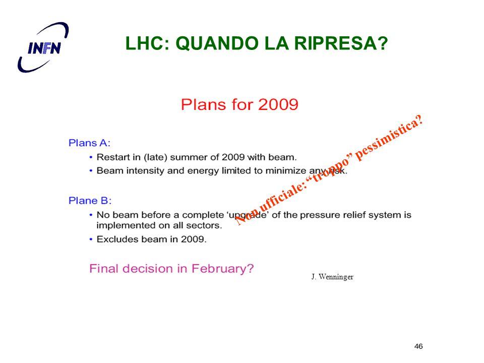 J. Wenninger Non ufficiale: troppo pessimistica? LHC: QUANDO LA RIPRESA?