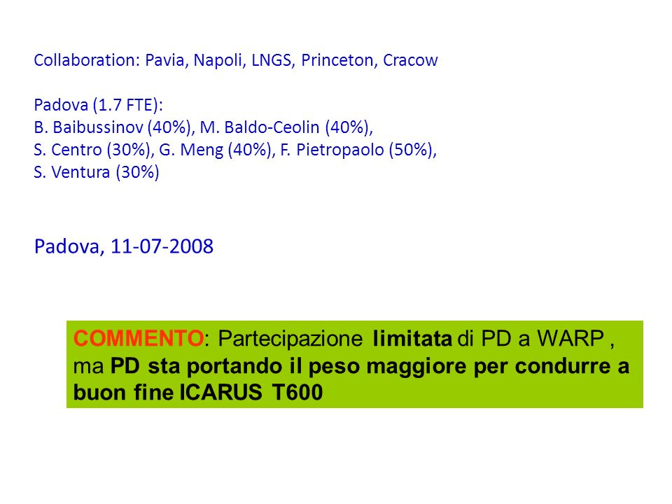 Collaboration: Pavia, Napoli, LNGS, Princeton, Cracow Padova (1.7 FTE): B. Baibussinov (40%), M. Baldo-Ceolin (40%), S. Centro (30%), G. Meng (40%), F