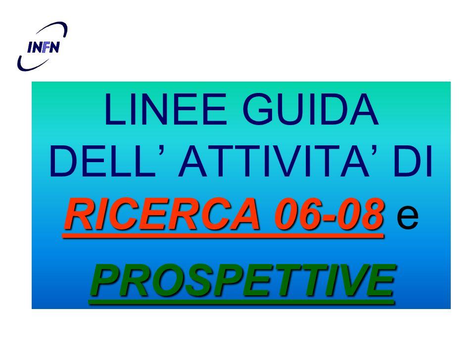 RICERCA 06-08 PROSPETTIVE LINEE GUIDA DELL ATTIVITA DI RICERCA 06-08 e PROSPETTIVE