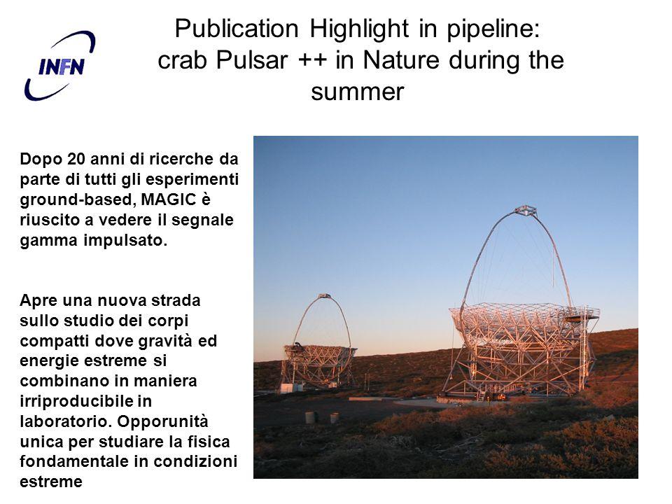 Publication Highlight in pipeline: crab Pulsar ++ in Nature during the summer Dopo 20 anni di ricerche da parte di tutti gli esperimenti ground-based,